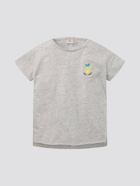 T-shirt met subtiele print op de borst - Meisjes - lunar rock melange|beige - 7 - Tom Tailor E-Shop Kollektion