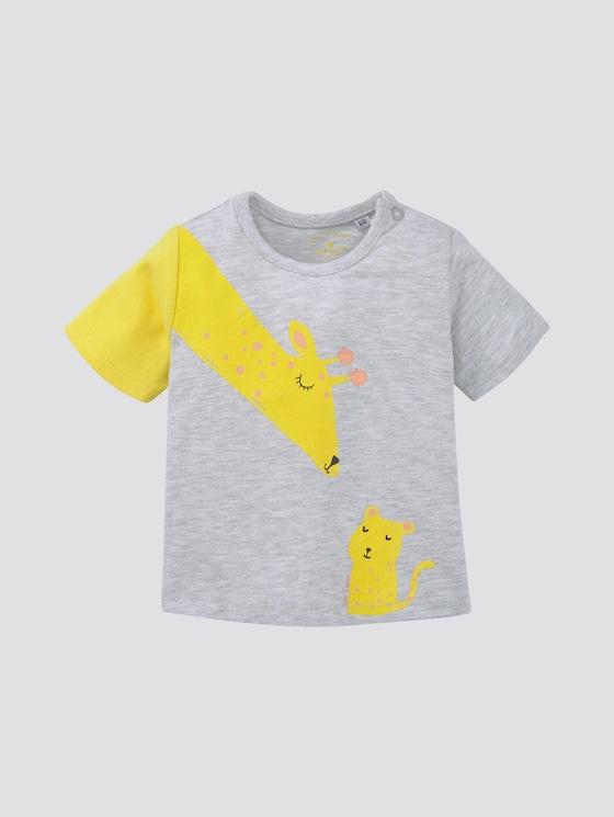 T-shirt with print - Babies - lunar rock melange|beige - 7 - TOM TAILOR
