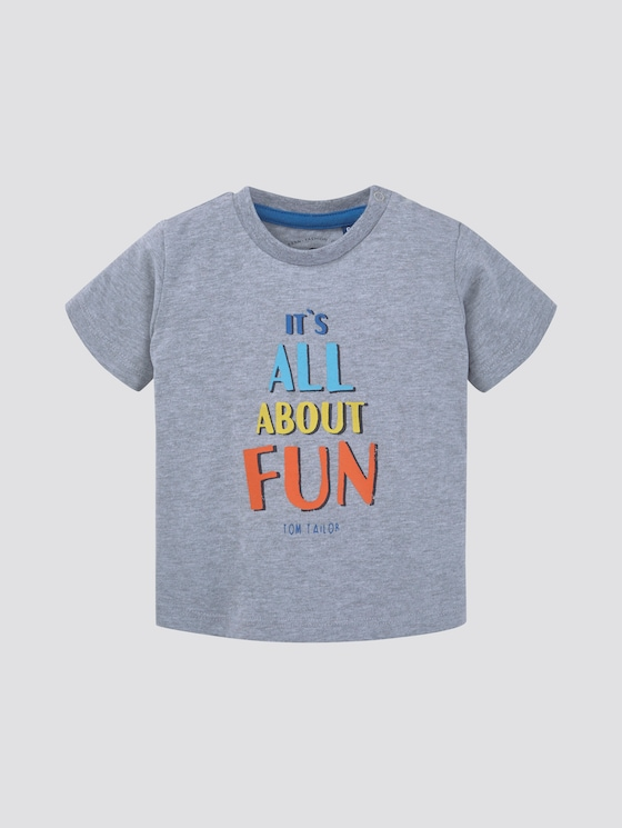 T-Shirt mit Print - Babies - lunar rock melange|beige - 7 - TOM TAILOR