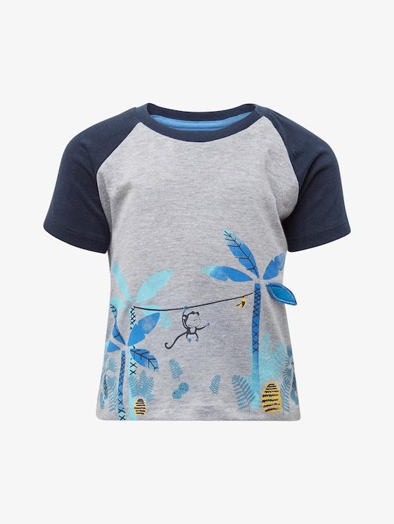 Raglan T-Shirt - Babies - lunar rock melange|beige - 7 - TOM TAILOR