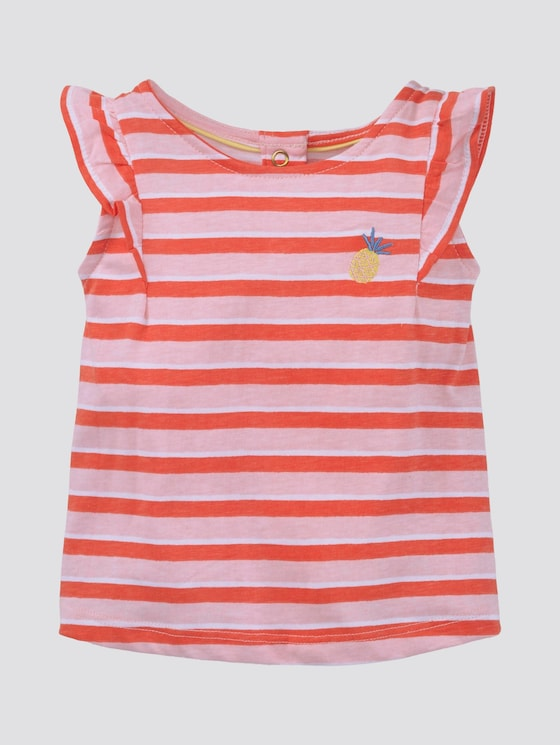 Gestreiftes T-Shirt mit Volant - Babies - printed stripe|multicolored - 7 - TOM TAILOR