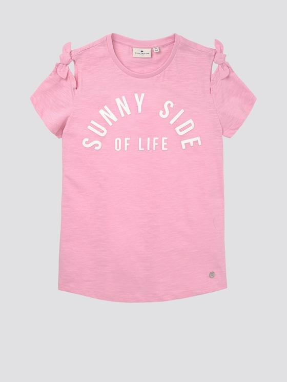 T-Shirt mit Schleifen-Detail und Schrift-Print - Mädchen - sweet lilac|rose - 7 - Tom Tailor E-Shop Kollektion