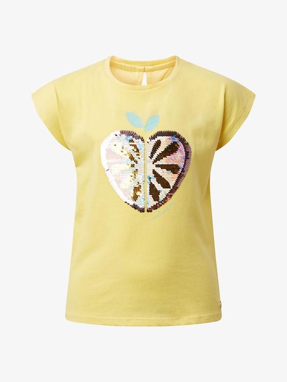 T-Shirt mit Wendepailletten - Mädchen - sunshine|yellow - 7 - TOM TAILOR