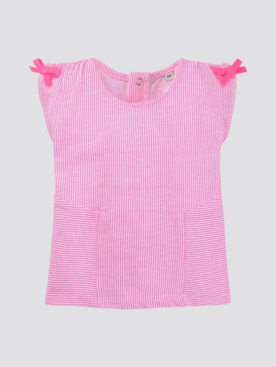 Gestreiftes T-Shirt mit Schleifen - Babies - knockout pink|pink - 7 - TOM TAILOR