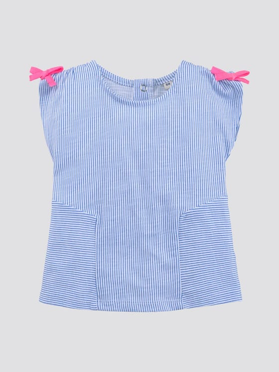 Gestreept t-shirt met strikken - Babies - palace blue|blue - 7 - TOM TAILOR