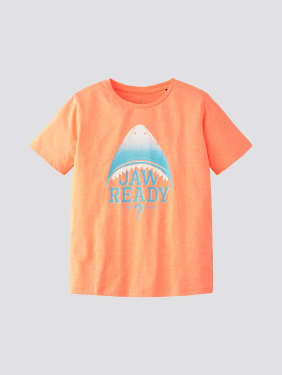 T-Shirt mit Print - Jungen - washed out neon orange|orange - 7 - TOM TAILOR