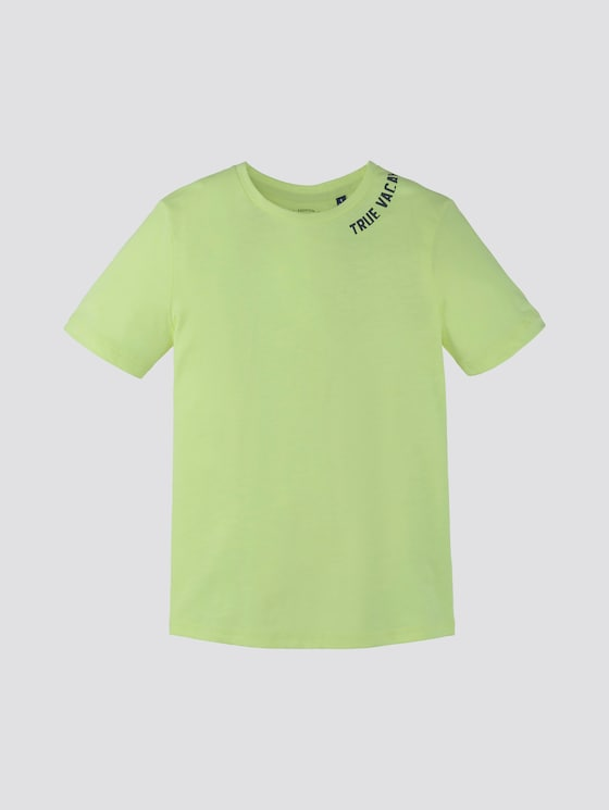 T-Shirt mit Rücken-Print - Jungen - washed out neon yellow|yellow - 7 - TOM TAILOR
