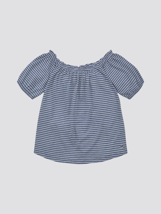 Gemustertes Off-Shoulder T-Shirt - Mädchen - y/d stripe|multicolored - 7 - TOM TAILOR