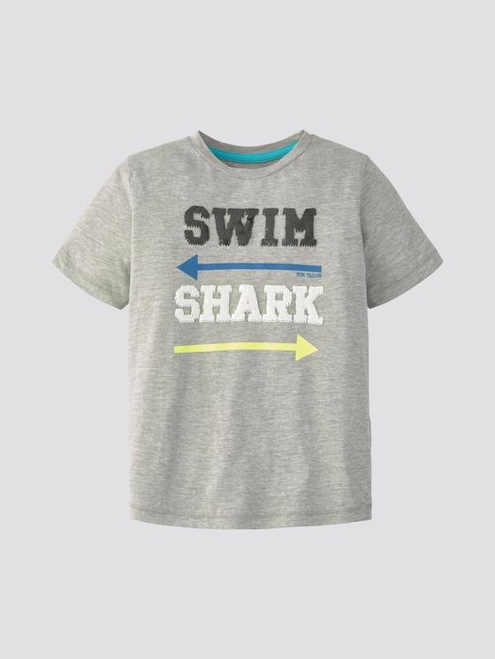 T-Shirt mit Pailletten - Jungen - drizzle melange gray - 7 - TOM TAILOR