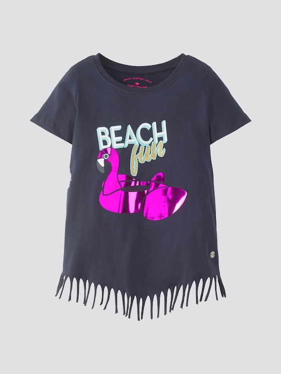 T-shirt with fraying - Girls - black iris|blue - 7 - TOM TAILOR