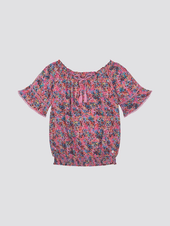 Off-shoulder blouse met patroon - Meisjes - shocking pink|pink - 7 - TOM TAILOR