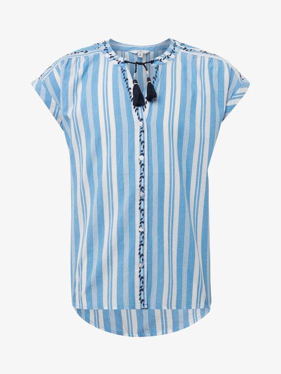 Gestreepte kaftan blouse - Meisjes - marina|blue - 7 - TOM TAILOR
