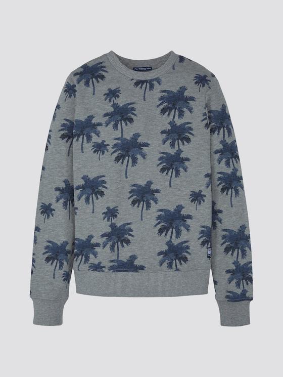 Sweatshirt with palm tree print - Boys - drizzle melange|gray - 7 - TOM TAILOR
