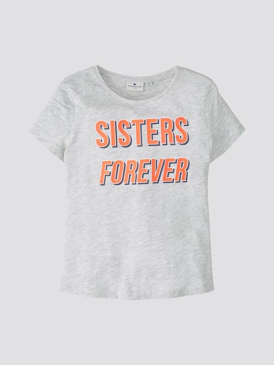 T-shirt with print - Girls - lunar rock melange beige - 7 - TOM TAILOR