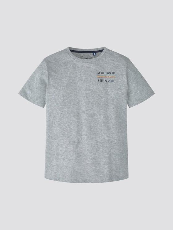 T-Shirt mit Print - Jungen - drizzle melange gray - 7 - TOM TAILOR