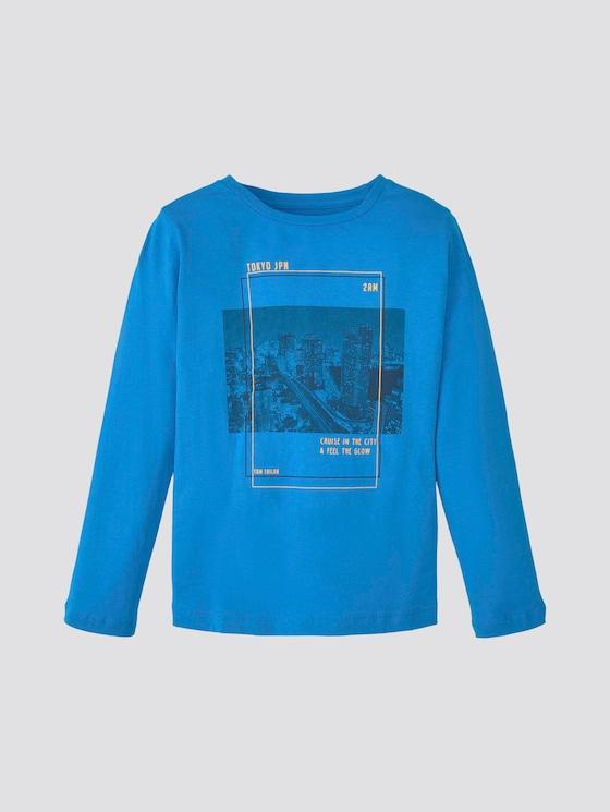 Langarmshirt mit Print - Jungen - ibiza blue|blue - 7 - TOM TAILOR