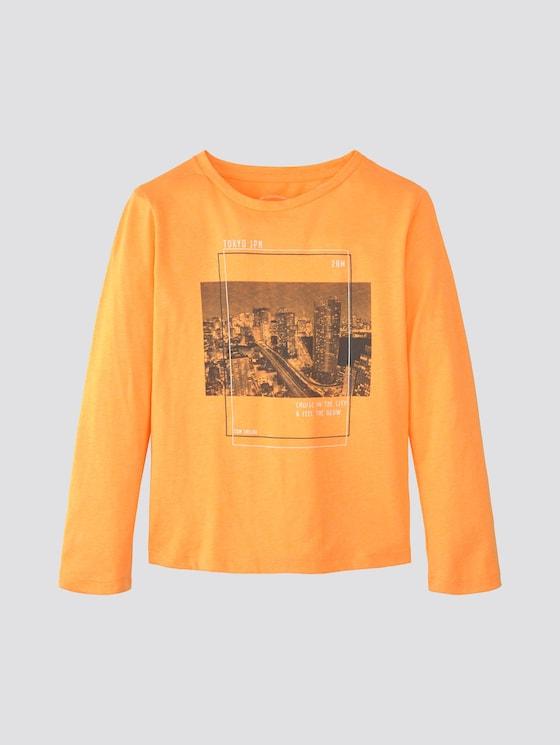 Langarmshirt mit Print - Jungen - orange pop|orange - 7 - TOM TAILOR