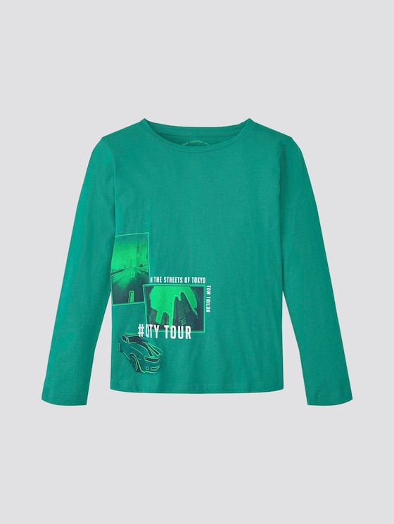 Langarmshirt mit Print - Jungen - greenlake|green - 7 - TOM TAILOR