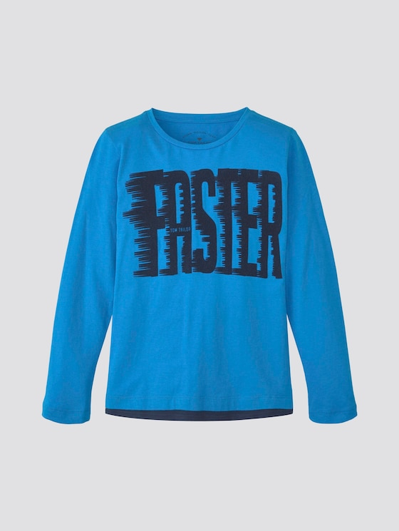 Long-sleeved shirt with print - Boys - ibiza blue|blue - 7 - TOM TAILOR