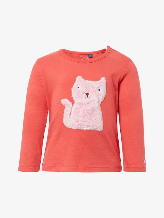 Long-sleeved shirt with fur motif - Babies - bittersweet|red - 7 - TOM TAILOR