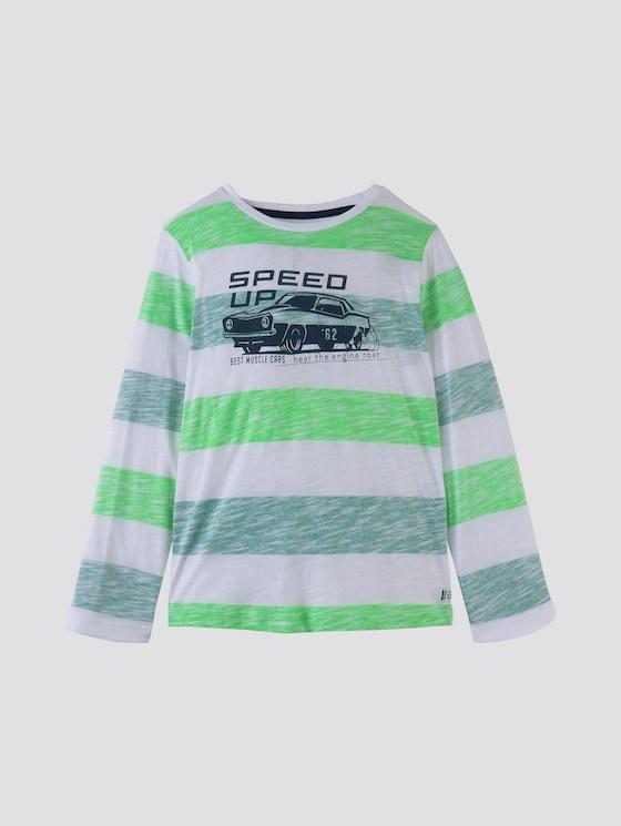 Gestreiftes Langarmshirt mit Print - Jungen - greenlake|green - 7 - TOM TAILOR