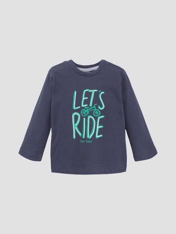 Long-sleeved shirt with print - Babies - navy blazer|blue - 7 - TOM TAILOR