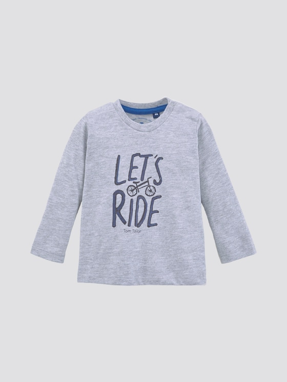 Long-sleeved shirt with print - Babies - vapor blue melange|gray - 7 - TOM TAILOR