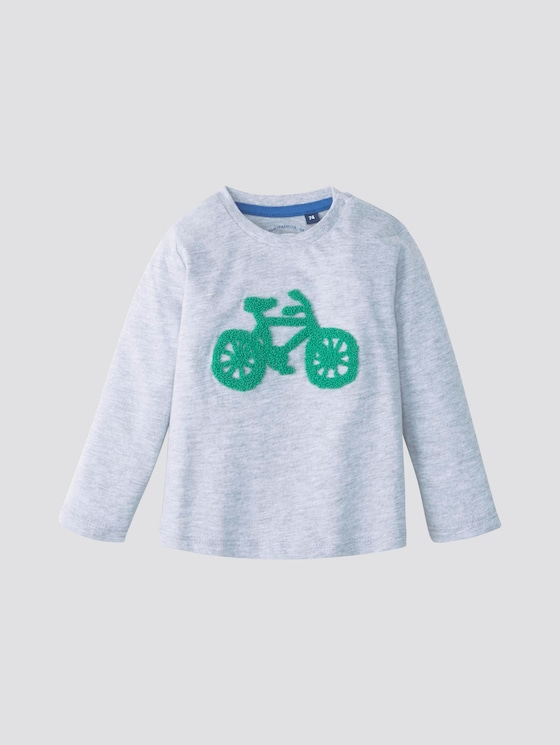 Long-sleeved shirt with print - Babies - vapor blue melange|gray - 7 - TOM TAILOR