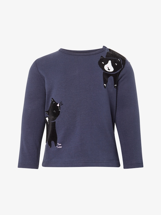 Lange mouwen shirt met kattenprint - Babies - black iris|blue - 7 - TOM TAILOR