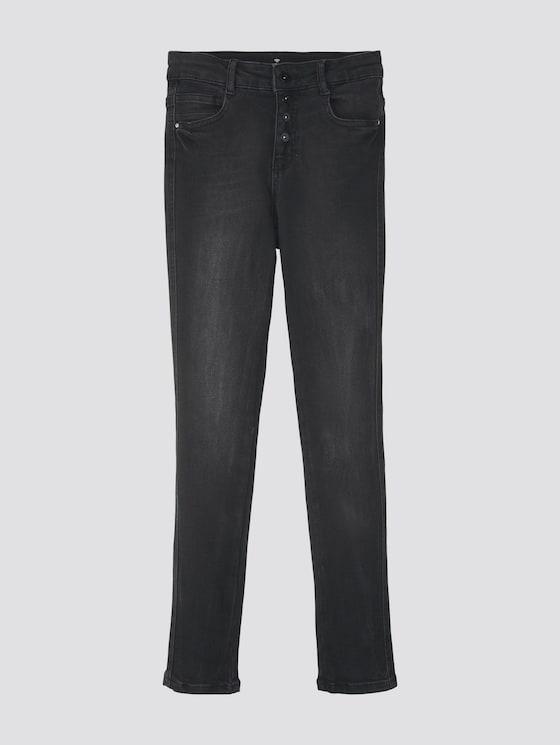 Linly Straight Jeans mit Knopfverschluss - Mädchen - black denim|black - 7 - TOM TAILOR