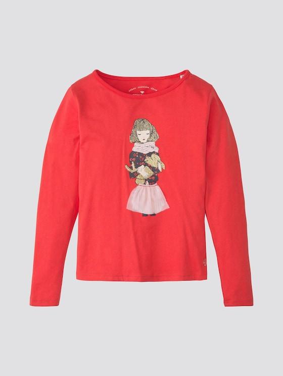 Langarmshirt mit Print - Mädchen - hibiscus red - 7 - TOM TAILOR