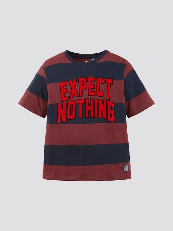 Gestreept t-shirt met print - Jongens - cabernet|rose - 7 - TOM TAILOR