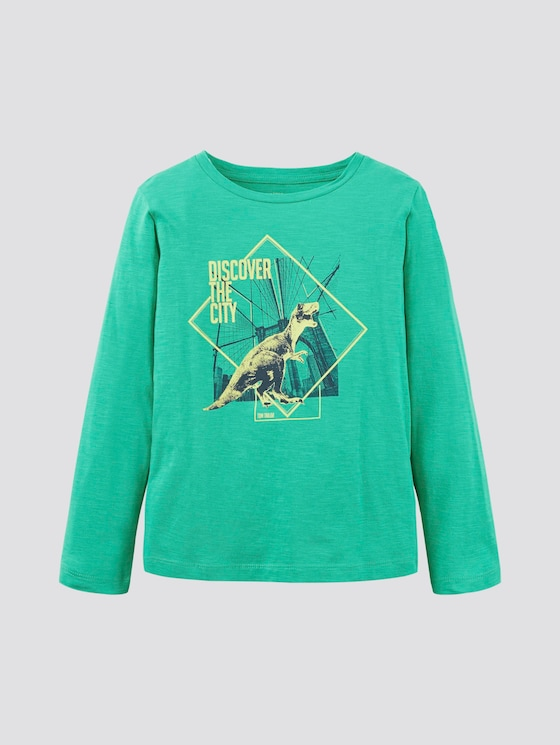 Langarmshirt mit Print - Jungen - holly green|green - 7 - TOM TAILOR