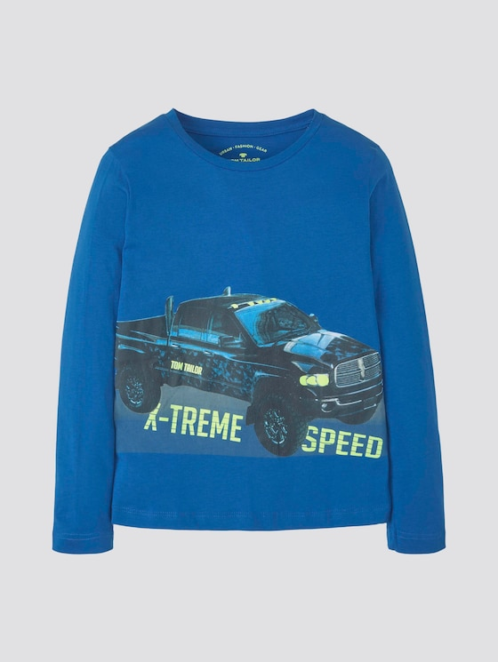 Long-sleeved shirt with photo print - Boys - strong blue - 7 - TOM TAILOR