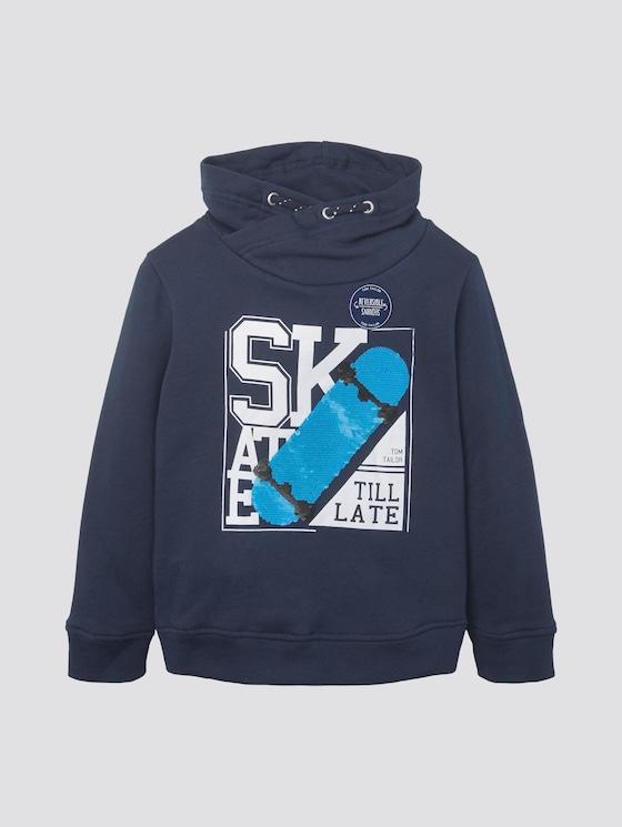 Sweatshirt mit Kragen und Paillettenmotiv - Jungen - dress blue|blue - 7 - TOM TAILOR