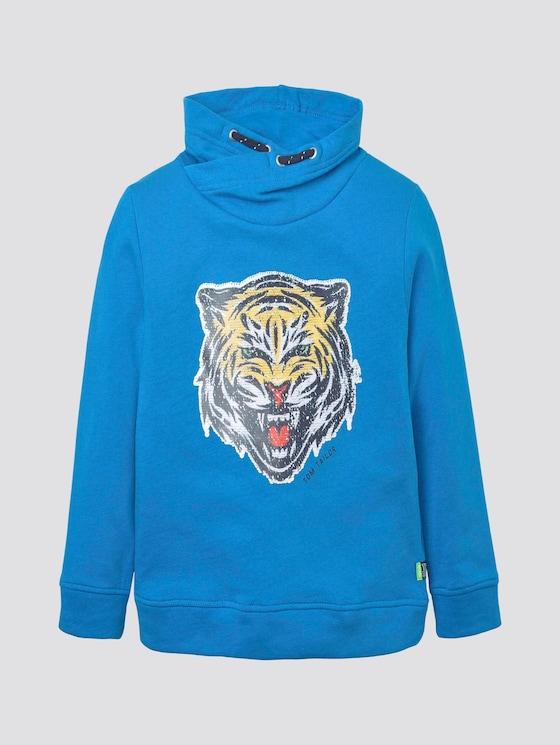 Sweatshirt mit Kragen und Paillettenmotiv - Jungen - ibiza blue|blue - 7 - TOM TAILOR