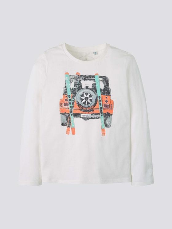 Langarmshirt mit Print - Jungen - snow white|white - 7 - TOM TAILOR