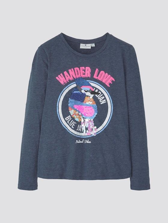 Langarmshirt mit Print und Pailletten - Mädchen - dress blue blue - 7 - TOM TAILOR