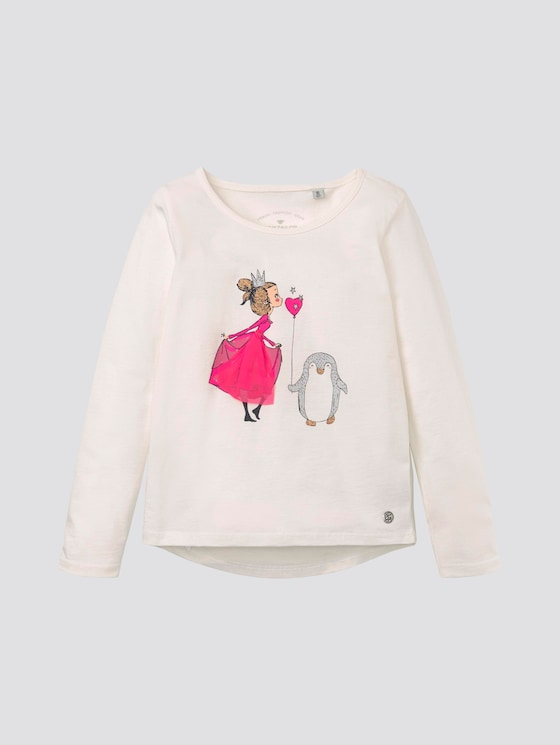 Long-sleeved shirt with print - Girls - cloud dancer|white - 7 - TOM TAILOR