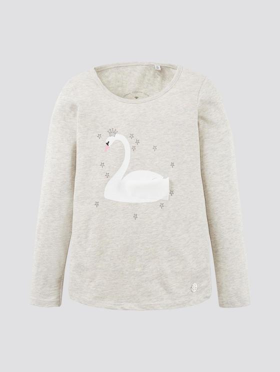Long-sleeved shirt with print - Girls - lunar rock melange|beige - 7 - TOM TAILOR