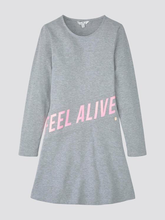 Kleid mit Schrift-Print - Mädchen - drizzle melange|gray - 7 - TOM TAILOR