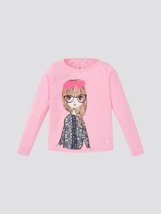 Langarmshirt mit Artwork - Mädchen - begonia pink|rose - 7 - TOM TAILOR