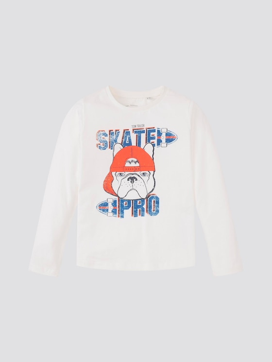 Langarmshirt mit Skater-Print - Jungen - snow white|white - 7 - TOM TAILOR