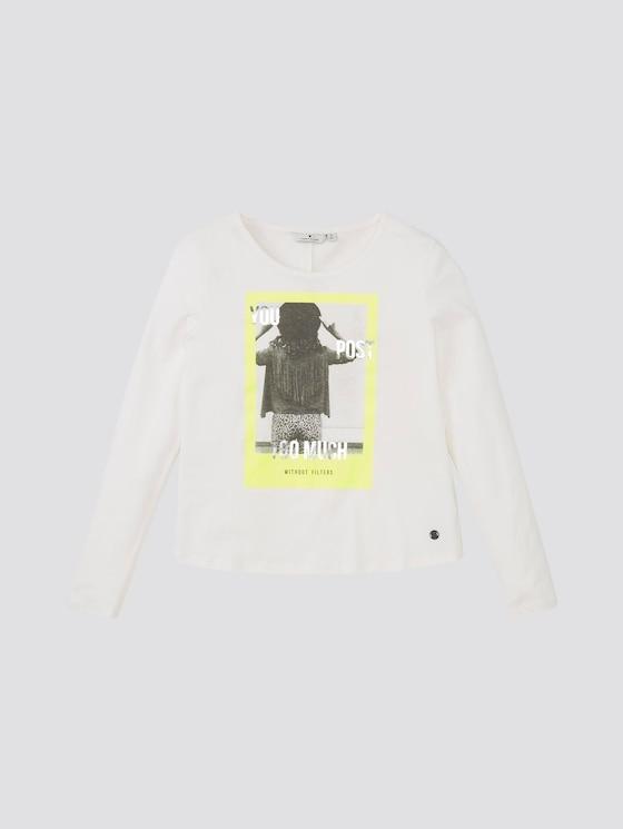Girly Langarmshirt mit Print - Mädchen - cloud dancer|white - 7 - TOM TAILOR