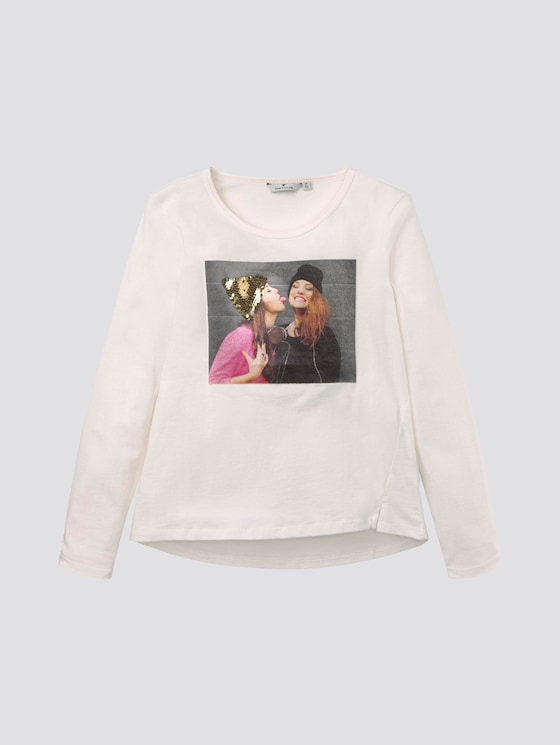 Girly Langarmshirt mit Foto-Print - Mädchen - cloud dancer|white - 7 - TOM TAILOR