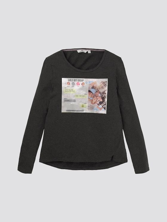 Girly Langarmshirt mit Foto-Print - Mädchen - dark stone melange gray - 7 - TOM TAILOR