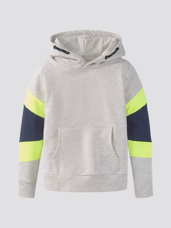Hoodie im Colorblocking mit Print - Jungen - off white melange|white - 7 - TOM TAILOR
