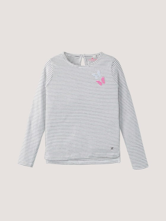 Gestreiftes Langarmshirt mit Applikation - Mädchen - y/d stripe|multicolored - 7 - Tom Tailor E-Shop Kollektion