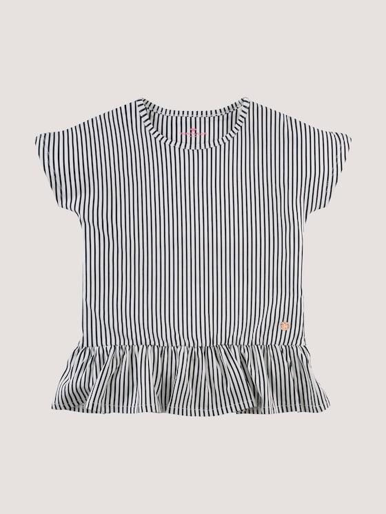 Striped T-shirt with flounce - Girls - night sky|blue - 7 - Tom Tailor E-Shop Kollektion