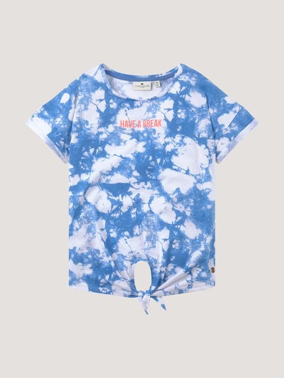 Batik T-shirt with knot details - Girls - granada blue|blue - 7 - Tom Tailor E-Shop Kollektion